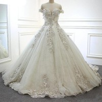 Grey Pearls Wedding Dress Luxury Wedding