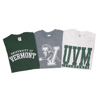 Basics Line T-Shirt 3 Pack Charcoal/Forest/White | The UVM Bookstore