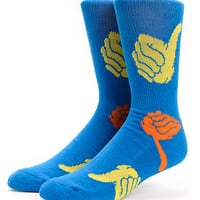 Bro Style Thumbs Up Blue Crew Socks