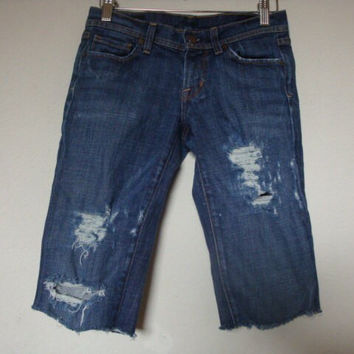 CITIZENS of Humanity JEANS frayed ripped raw hem women hand distressed denim Bermuda knee length shorts Size 26  Ingrid