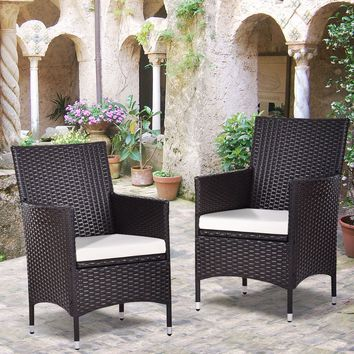 Set Of 2 Patio Chairs Rattan Wicker Dining Arm Seat Cushions Outdoor Indoor