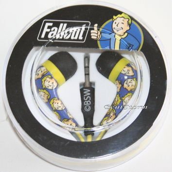 Licensed cool NEW Fallout Vault Boy Earbuds Earphones Headphones Circle Case Bethesda Licensed