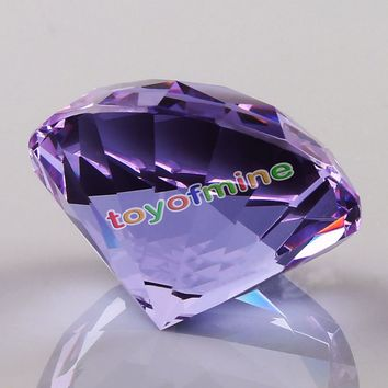 High Quality 60mm Clear K9 Crystal Paperweight Cut Glass Large Giant Diamond Jewel Gift