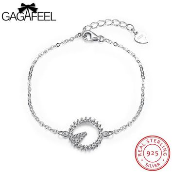 GAGAFEEL Link Chain Bracelet 925 Sterling Silver Jewelry Bracelet For Women Charm Cubic Zirconia Micro Pave CZ Free Dropshipping