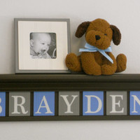 "Baby Boy Nursery Decor 30"" Chocolate Brown Shelf with 7 Light Blue and Gray Wooden Letter Plaques - BRAYDEN"