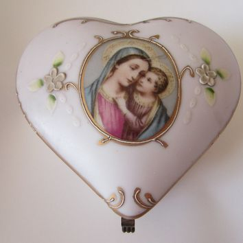 Madonna Child Medallion Pink Porcelain Heart Jewelry Box