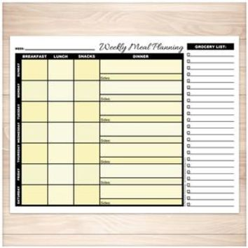 Yellow Weekly Meal Planning Page with Grocery List - Printable