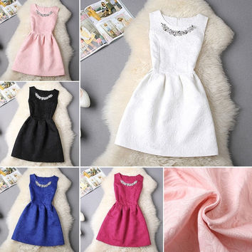 Female popular trend dresses coton fibre vintage solid color sleeveless with necklace dress A line knee-length vest dress = 1946749572