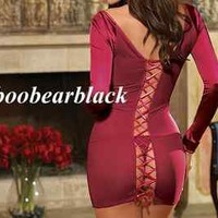 DREAMGIRL SEXY LINGERIE LONG SLEEVE LACE UP BACK CHEMISE MEDIUM  BLACK ONLY