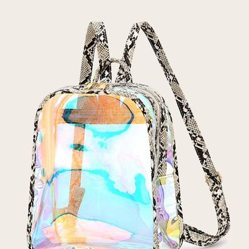 Snakeskin Strap Clear Backpack