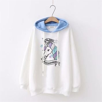 Harajuku kawaii women cashmere  Sequin unicorn patchwork long sleeve pullover hoodies cotton tops hooded sweatshirts female