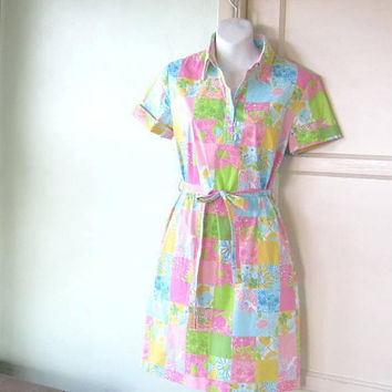 Pastel Patchwork Print Shirt Dress by Lilly Pulitzer; Women's Small Button-Up Short Sleeve Cotton Dress; Light Blue/Pink/Chartreuse/Preppy
