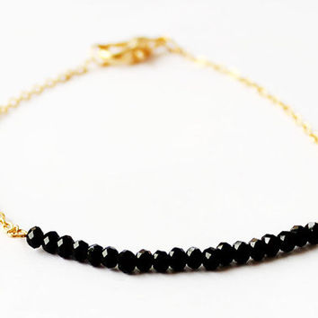 Crystal bracelet black crystals gold chain best friend gift valentine gift for her birthday mother gift
