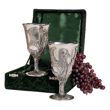 Park Avenue Collection Boxed Pair Of Dragon Pewter Goblets