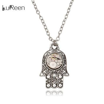 LuReen Steampunk Watch Parts Gear Necklace Men Vintage Fatima Hand Pendant Statement Necklaces Chains Women Jewelry Gift LN0247