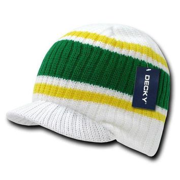 White Striped Campus Visor Jeep Skull Knit Winter Beanie Cap Hat Hats
