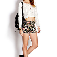 High-Waisted Floral Shorts