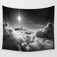 Clouds Black & White Wall Tapestry by 2sweet4words Designs