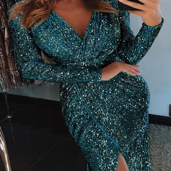 New Green Irregular Sequin Glitter Slit Deep V-neck Sparkly Birthday Banquet Party Midi Dress