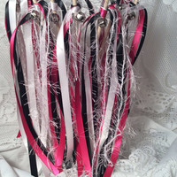 100 Wedding wands pink black and white with white frayed ribbon streamers send off silver bells you choose colors