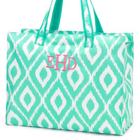 Super Sale....Mint Ikat  Large Beach Bag with free monogram