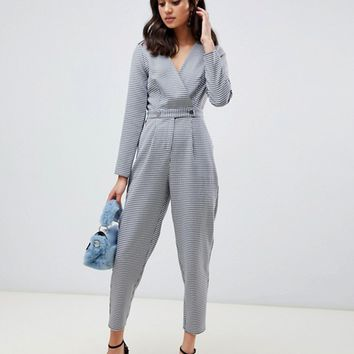Miss Selfridge jumpsuit with button detail in houndstooth print | ASOS
