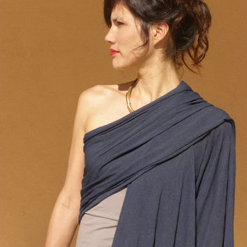 Womens  top-One sleeve top-Women's wrap shawl