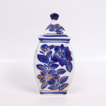 Vintage Asian Urn Lidded Ginger Jar Chevalier Cobalt Blue and White Gold Trim Lotus Flowers Porcelain Ginger Vase