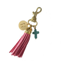 Initial Tassel Cross Keychain- Multiple Colors