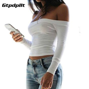 Gtpdpllt Summer Women Sweaters 2018 Sexy Off Shoulder Crop top Sweater Pull Femme Short Casual Slim Pullover Knitted Jumper