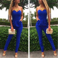 New Fashion Ladies Jumpsuit Rompers Blue Pockets Pencil Long Strapless Playsuit Women's Bodysuit Overalls Slim Pants = 1652460932