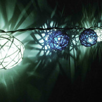 20pcs Mixed Blue Handmade Rattan Balls String Lights Fairy Patio Home Decor Christmas New Year Party