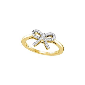 10kt Yellow Gold Women's Round Diamond Ribbon Bow Knot Ring 1/6 Cttw - FREE Shipping (US/CAN)