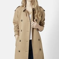 Women's Topshop Double Breasted Cotton Trench (Nordstrom Exclusive)