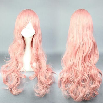 Binan Koukou Chikyuu Bouei Bu Love!Akoya Gero wavy cosplay wig 70cm Binan Koukou Chikyuu Bouei Bu Love!long wavy cosplay wigs,Colorful Candy Colored synthetic Hair Extension Hair piece 1pcs WIG-578H