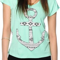 Workshop Tribal Anchor Chiffon Back Dolman Tee
