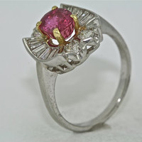 14kt White and Yellow Gold Estate Diamond and Ruby Engagement Ring, Wedding Ring