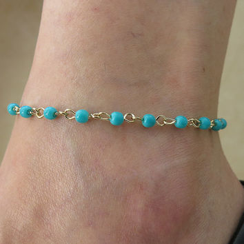turquoise anklet, gold anklet, delicate anklet, turquoise gold anklet, beaded chain links Turquoise anklet, foot jewelry