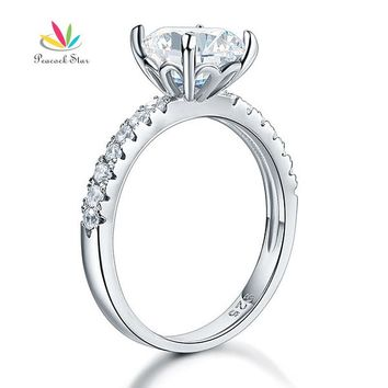 Peacock Star 925 Sterling Silver Bridal Anniversary Engagement Ring 2 Carat Jewelry CFR8212