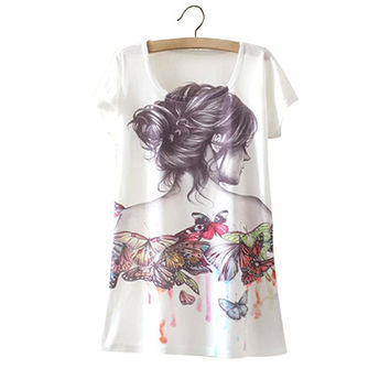 White Butterfly Woman Print Tee