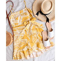 all the things we love leaf floral wrap dress - mustard