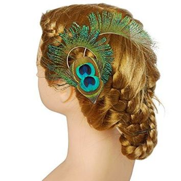 Blank K Peacock Feather Hair Clips Wedding Prom Carnival Headpieces Derby Teaparty Hat