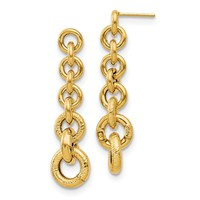 14k Yellow Gold Polished Fancy Dangle Earrings