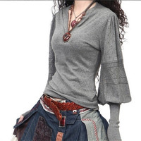 Women Warm Pullovers Winter V-Neck Lantern Sleeve Sweater  Pure Cashmere Sweater Tops = 1920547396