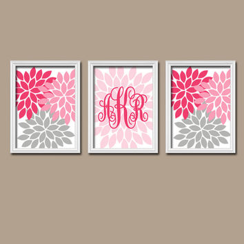 Pink Gray Custom Cursive Monogram Flower Burst Letter Initial Set of 3 Prints WALL ART Decor Abstract Bedroom Girl NURSERY Crib Baby