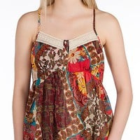 Women's Babydoll Henley Tank Top in Red/Cream/Turquoise by Daytrip.