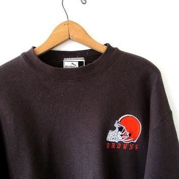 Vintage 1990s CLEVELAND BROWNS Embroidered Football PUMA Sweatshirt Sz L