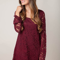 Lace Thoughts Maroon Dress