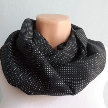 Black Infinity Scarf, Dots Scarf, Infinity Scarf, Winter Scarf, Gift for her,Christmas Gift