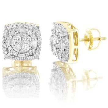 10K Gold Square Halo Prong Set 0.62Ct Real Diamonds Screw Back Earrings